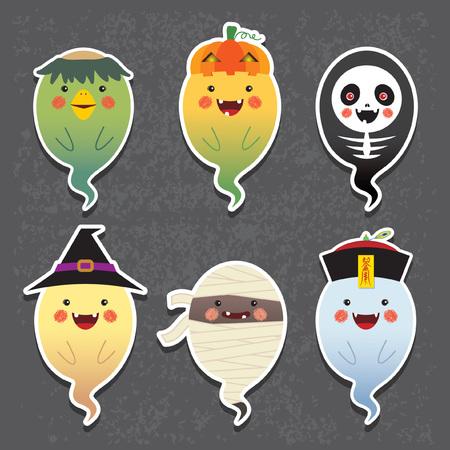 Dia das Bruxas. Fantasmas de Halloween vector conjunto de ícones. Conjunto de coleção de fantasma bonito com traje diferente de halloween: kappa (imp império), jack o lanterna, esqueleto, bruxa, múmia e zumbi chinês. Ilustración de vector