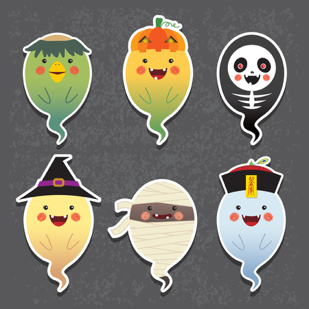 Halloween. Halloween ghosts vector icon set. Set of collection of cute ghost with different halloween costume: kappa (river imp), jack o lantern, skeleton, witch, mummy and chinese zombie. Иллюстрация