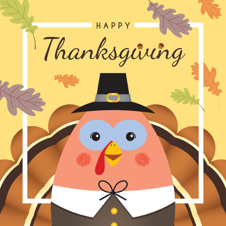 Happy Thanksgiving / Give thanks. Cute cartoon thanksgiving turkey with oak leaf and white frame.