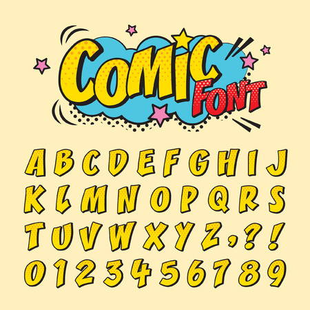 Comic retro font style.