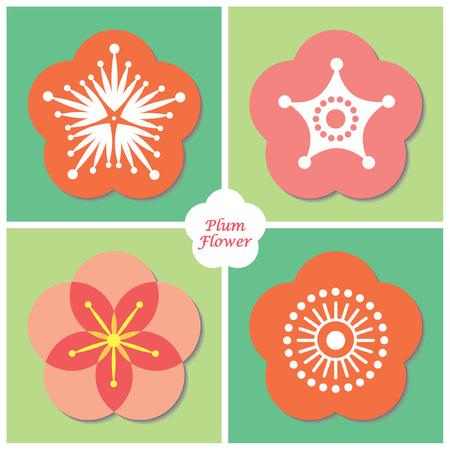 Insieme dell'icona del fiore di prugna / fiore di ciliegia. Illustrazione vettoriale di fiore di primavera