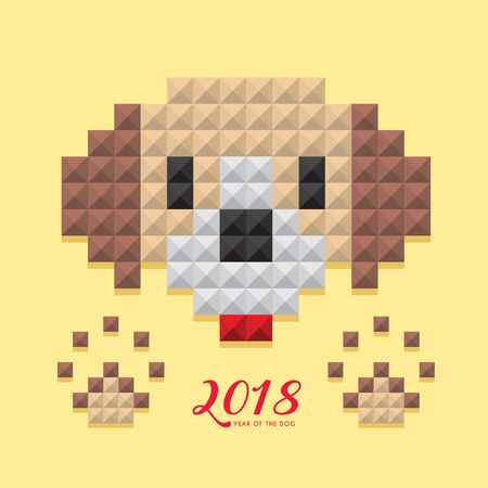 2018 year of the dog template design. 3D dog haed with footprint in modern stylish vector geometrical style, isolated on yellow background. Çizim