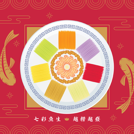 Yu Sheng or Lou Sang is a appetizer eating during Chinese New Year, symbolism of good luck for the new year. (caption: 7 colour Yu Sheng ; symbol of abundance and prosperity)