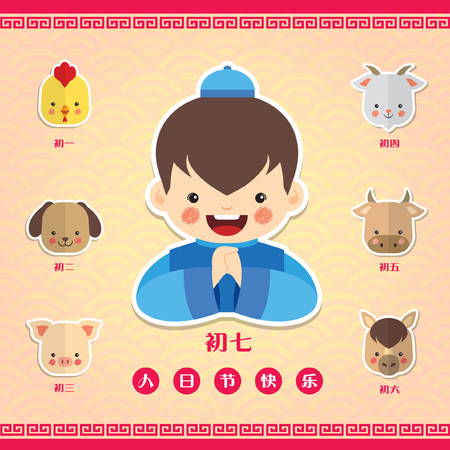 The 7th day of the Chinese New Year : Renri (the common person's birthday). (translation:1st rooster, 2nd dog, 3rd pig, 4th goat, 5th ox, 6th horse, 7th human / Happy Renri's Day) Illustration