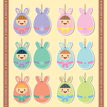 Easter label lovely kid wearing easter costume set of cute easter label lovely kid wearing easter costume set of cute and colourful easter gift negle Images