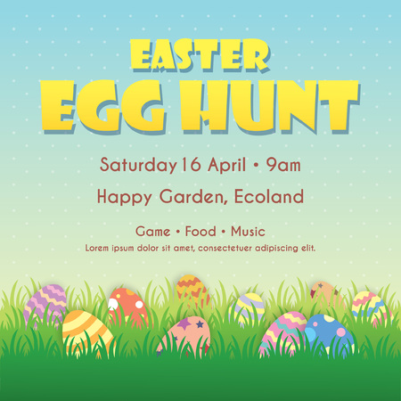 Easter egg hunt poster, invitation, leaflet template design. Easter eggs on the meadow with blue sky as background.