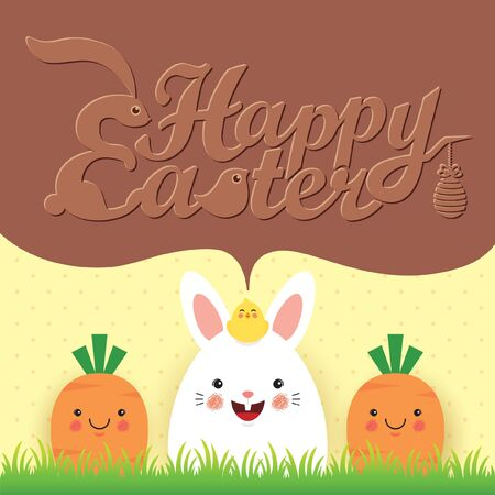 Easter greeting card template design. Cute cartoon rabbit, baby chick with carrots on meadow and chocolate speech bubble with text. Illustration