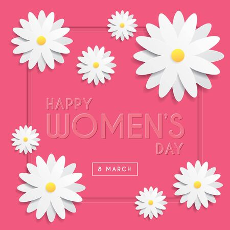 International Women's Day greeting card template design with emboss text & white flowers on pink background. 8 march vector illustration.