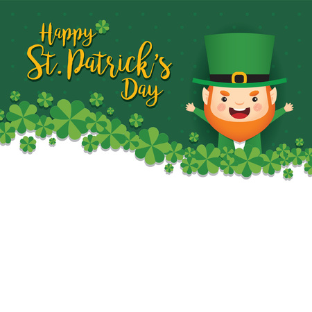 17 march. St. Patricks Day greeting card template. Cute Leprechaun with clovers on green polka dot background. Vector illustration.