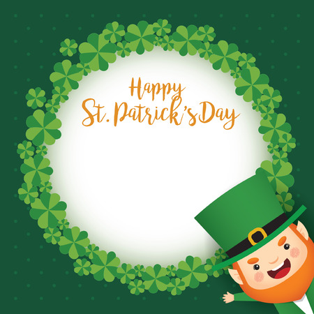 Happy St. Patrick's Day greeting card template. Cute Leprechaun and clover wreath on green polka dot background. 17 march vector illustration. Vectores