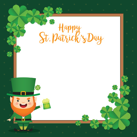 Saint Patrick's Day template design. Cute Leprechaun holding mug of green beer with clovers and white square frame. Vector illustration.