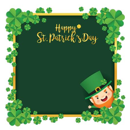 Saint Patricks Day template design. Cute Leprechaun with four leaf clovers and golden border green square frame. Vector illustration.