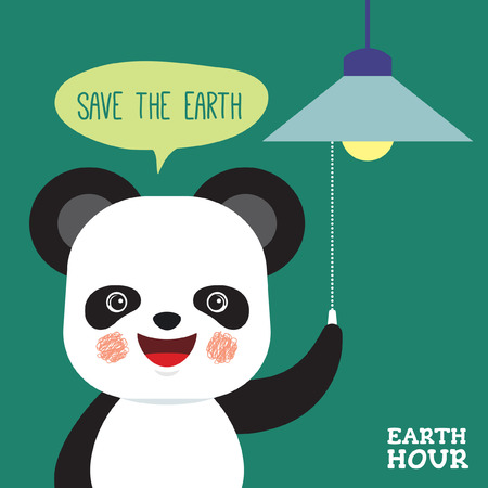 Earth Hour vector illustration. Cute cartoon panda turn off the lights with speech bubble 'Save the Earth'. Eco energy save concept. Vettoriali