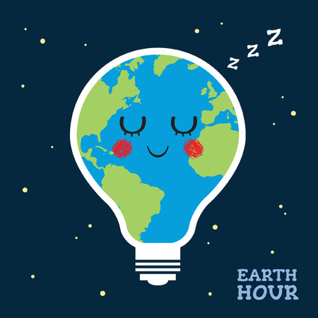 Earth Hour. Sleeping or napping cartoon earth globe in light bulb shape. Eco energy save concept vector illustration.