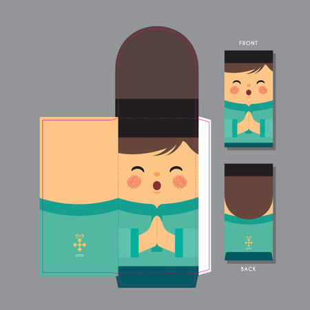 Hari Raya Aidilfitri (Fasting day) green packet template design. Cute muslim boy with smiling face and dressed in traditional clothe.