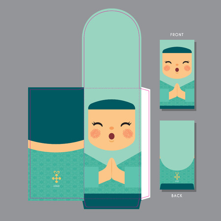 Hari Raya Aidilfitri (Fasting day) green packet template design. Cute muslim girl with smiling face and dressed in traditional clothe.