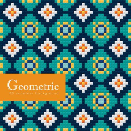 Geometric seamless pattern. 3D Islamic or Arabian weave motif vector geometrical ceramic background.