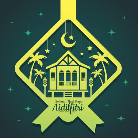 Grußschablonen-Vektormoschee Hari Raya Aidilfitri mit Halbmond und Sternen in ketupat Form der Papierschnittart. Übersetzung: Glücklicher Fastentag. Vektorgrafik
