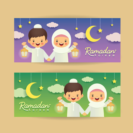 Ramadan kareem banner template. Cute cartoon muslim kids holding lantern with crescent moon, stars and clouds. Vector illustration. Ramadan Kareem means Ramadan the Generous Month.