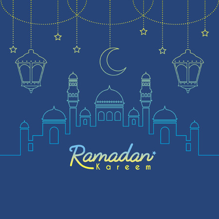 Ramadan Kareem template or copy space. Mosque with crescent moon and lantern in gradient lien art style on blue background. Ramadan Kareem means Ramadan the Generous Month. Illustration