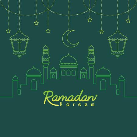 Modèle de Ramadan Kareem ou espace de copie. Mosquée avec croissant de lune et lanterne dans un style art dégradé sur fond vert. Ramadan Kareem signifie Ramadan le mois généreux. Vecteurs