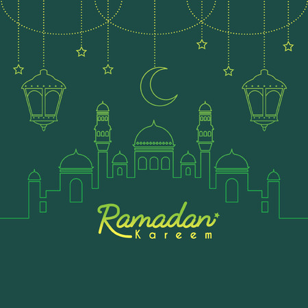 Ramadan Kareem template or copy space. Mosque with crescent moon and lantern in gradient lien art style on green background. Ramadan Kareem means Ramadan the Generous Month. Illustration