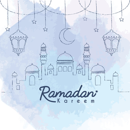 Ramadan Kareem template. Hand drawn mosque with crescent moon and lantern in lien art style on blue watercolor background. Ramadan Kareem means Ramadan the Generous Month.