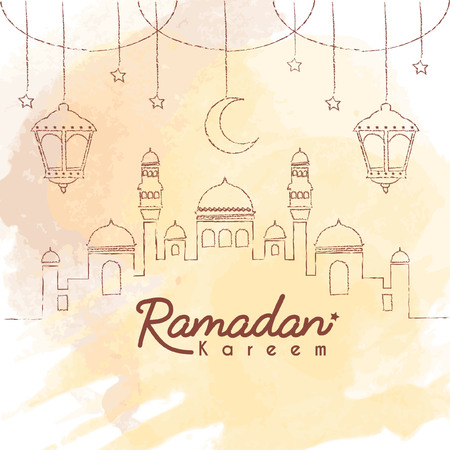 Ramadan Kareem template. Hand drawn mosque with crescent moon and lantern in lien art style on brown watercolor background. Ramadan Kareem means Ramadan the Generous Month.