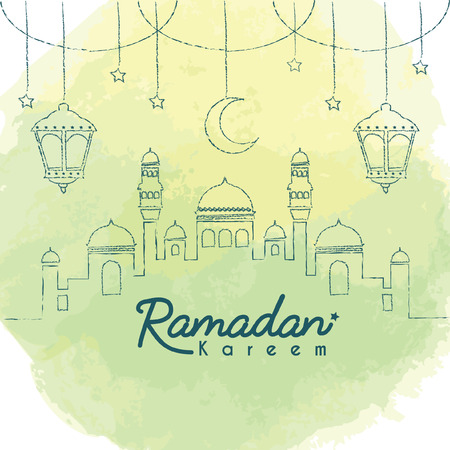 Ramadan Kareem template. Hand drawn mosque with crescent moon and lantern in lien art style on green watercolor background. Ramadan Kareem means Ramadan the Generous Month. Illustration