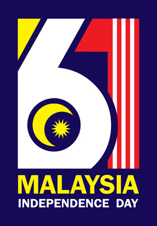 31 August - Malaysia Independence Day template design. Number 61 abstract art base on Malaysia flag colours. 向量圖像