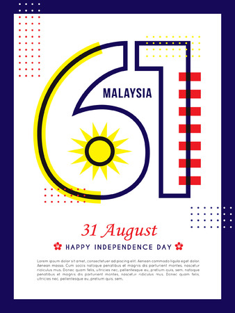 31 August - Malaysia Independence Day template design. Number 61 abstract art base on Malaysia flag colours. Illustration