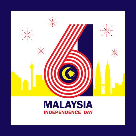 31 août - Illustration de la fête de l'indépendance de la Malaisie avec le numéro 61 et la base de l'horizon de la ville sur les couleurs du drapeau de la Malaisie.