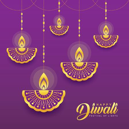 Golden hanging diya (india oil lamp) in line art style.