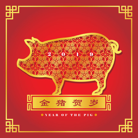 2019 year of the Pig. Chinese New Year greeting card of golden pig. Illustration