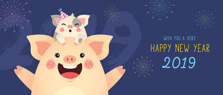 Happy New Year 2019 banner design. Cute cartoon pigs celebrate new year with fireworks.