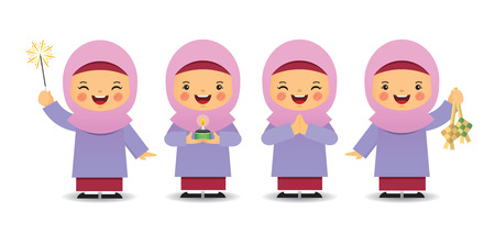 Set of cute cartoon muslim girl in different pose isolated on white background. Flat vector design.