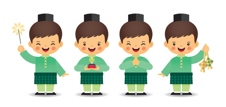 Set of cute cartoon muslim boy in different pose isolated on white background. Flat vector design. Vetores