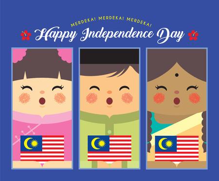 Ilustración del día de la independencia de Malasia. Niños de dibujos animados lindo de malayo, indio y chino sosteniendo la bandera de Malasia en diseño vectorial plano.