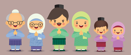 Set of cute cartoon muslim family isolated in flat vector design. Hari Raya Aidilfitri malay character design. Father, mother, grandfather, grandmother, brother & sister.