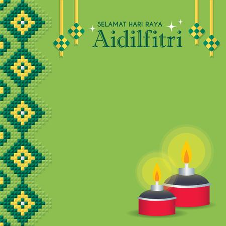 Selamat Hari Raya Aidilfitri greeting card. Ketupat (malay rice dumpling) & pelita (oil lamp) on green islamic pattern background. Flat vector illustration. (caption: Fasting Day celebration)