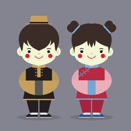 Chinese ghost festival cartoon character in flat vector design. Cute Zhizha boy and girl (funeral paper offerings).