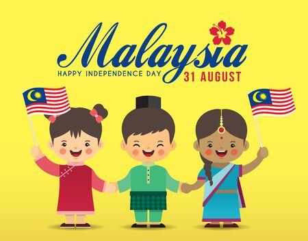 31 août - Illustration de la fête de l'indépendance de la Malaisie. Enfants de dessin animé mignon de malais, indiens et chinois se tenant la main avec le drapeau de la Malaisie dans un dessin vectoriel plat. Vecteurs