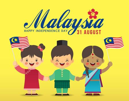 31. August - Illustration zum Unabhängigkeitstag von Malaysia. Niedliche Cartoon-Kinder von Malaien, Indern und Chinesen, die Händchen halten, zusammen mit Malaysia-Flagge im flachen Vektordesign. Vektorgrafik
