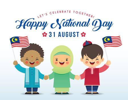 31 agosto - illustrazione del giorno dell'indipendenza della Malesia. Simpatico cartone animato per bambini di malesi, indiani e cinesi che si tengono per mano insieme alla bandiera della Malesia in un disegno vettoriale piatto.