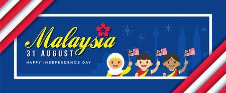 31 August - Malaysia Independence Day banner design. Illusztráció