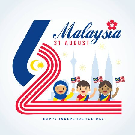 31 August - Malaysia Independence Day greeting card.