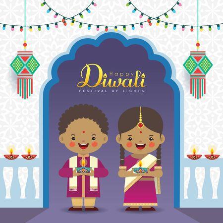 Illustration de salutation vectorielle Diwali ou Deepavali. Enfants indiens mignons avec ampoules colorées, kandil (lanterne indienne) et diya (lampe à huile). Célébration de la Fête des Lumières.