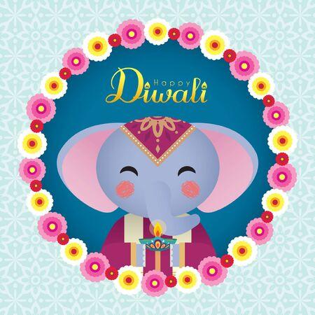 디왈리 또는 디파발리 인사말 템플릿입니다. 디야(인도 오일 램프)와 아름다운 꽃 화환을 들고 있는 귀여운 만화 코끼리. (캡션: 빛의 축제 축하) 벡터 (일러스트)
