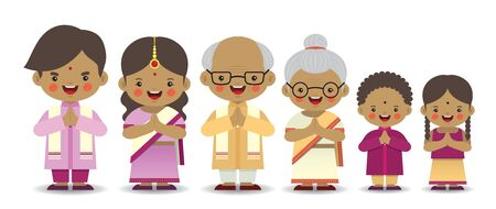 Conjunto de familia india de dibujos animados lindo aislado sobre fondo blanco. Personaje de Diwali o deepavali en diseño vectorial plano. Padre, madre, abuelo, abuela, hermano y hermana.