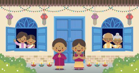 Diwali ou deepavali - carte de voeux pour la fête des lumières. Famille indienne de dessin animé avec kandil (lanterne indienne) et diya (lampe à huile) en illustration vectorielle plane. Vecteurs